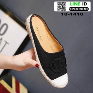 รองเท้าเปิดส้น Chanel canvas style 18-1410-BLK [สีดำ]