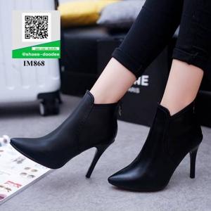 รองเท้าบูทส้นเข็มสีดำ ซิปหลัง (สีดำ )