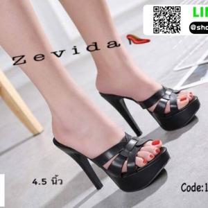 รองเท้าส้นสูงสวมสไตล์แบรนด์ดัง 17-2314-BLK [สีดำ]