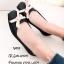 รองเท้าคัทชูส้นแบนสีดำ ยางนิ่มประดับโบว์ แฟชั่นรับหน้าฝน (สีดำ )