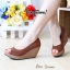 รองเท้าส้นเตารีดส้นโอ่ง เปิดหัวเล็กน้อย (สีน้ำตาล ) thumbnail 1