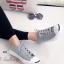 รองเท้าผ้าใบ แบบผูกเชือก สไตล์Jack-purcell (สีเทา )