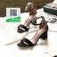 รองเท้าส้นตันรัดข้อสีดำ คาดหน้าทรงเรียบหรู (สีดำ ) thumbnail 1