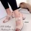 รองเท้าส้นสูง รัดส้น สายคาดเข็มขัดปรับระดับได้ ส้นเหลี่ยม (สีครีม ) thumbnail 1