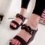 รองเท้าส้นเตารีด สไตล์ลำลอง (สีดำ)