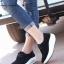 รองเท้าผ้าใบเสริมส้น เพื่อสุขภาพ แนววินเทจ (สีดำ )