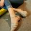 รองเท้าส้นเตี้ย รัดส้น หน้าสาน (สีครีม ) thumbnail 1