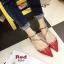 รองเท้าส้นเตี้ยหัวแหลม หนังแก้ว ตอกหมุด สไตล์Valentino (สีแดง ) thumbnail 5
