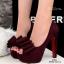 รองเท้าส้นสูง ผ้าสักหราด ประดับโบว์ (สีแดง )