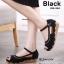 รองเท้าส้นตึกหุ้มส้นสีดำ หนังนิ่ม แต่งสายรัด (สีดำ )
