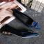 รองเท้าคัทชูหัวแหลมสีน้ำเงิน ส้นเตี้ย สไตล์แบรนด์ Manolo (สีน้ำเงิน ) thumbnail 5
