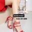 รองเท้าส้นสูง ปิดส้น รัดข้อเท้า สไตล์เกาหลี (สีแดง )