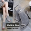 รองเท้าส้นสูงรัดข้อ ผ้าตาข่าย สไตล์เกาหลี (สีเทา )