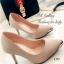 รองเท้าคัทชู ส้นสูง หัวแหลมแต่สีทอง ผ้าซาติน (สีกากี )