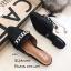 รองเท้าส้นเตี้ยสีดำ เปิดส้น Style Givenchy (สีดำ ) thumbnail 3