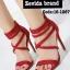 รองเท้าส้นสูง ปิดส้น รัดข้อ สายคาดไขว้ (สีแดง ) thumbnail 1