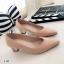 รองเท้าคัทชูส้นสูง แต่งส้นขอบทอง (สีครีม ) thumbnail 3
