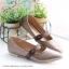 รองเท้าคัทชูส้นแบน หัวแหลม หนังบุนวม สไตล์น่ารัก (สีน้ำตาล ) thumbnail 4