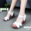รองเท้าลำลองรัดส้น หนังนิ่ม ส้นไม้ 1630-WHI [สีขาว] thumbnail 1
