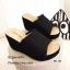 รองเท้าส้นเตารีดเปิดส้นสีดำ ผ้าแคนวาสนิ่ม แต่งขอบรุ่ย (สีดำ ) thumbnail 1