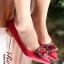 รองเท้าคัทชูหัวแหลมสีแดง ส้นเตี้ย สไตล์แบรนด์ Manolo (สีแดง ) thumbnail 1