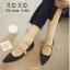 รองเท้าคัทชูส้นเตี้ยหัวแหลมสีดำ ผ้าซาติน งาน miu miu (สีดำ )