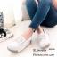 รองเท้าผ้าใบส้นเตารีดสีครีม แต่งโบว์ หนังกลับ (สีครีม ) thumbnail 1
