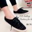 รองเท้าผ้าใบ ลายลูกไม้ ผ้าโครเชถัก พื้นหุ้มเชือกปอ (สีดำ ) thumbnail 1
