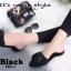 รองเท้าส้นเตี้ยเปิดส้นสีดำ หัวแหลม แต่งกุหลาบ (สีดำ ) thumbnail 3