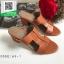 รองเท้าส้นตันเปิดส้นสีน้ำตาล สไตล์ Hermes (สีน้ำตาล )