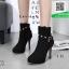 รองเท้าบูทส้นสูงสีดำ แต่งหมุด สไตล์ Korea (สีดำ ) thumbnail 1