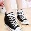 รองเท้าผ้าใบหุ้มข้อสีขาว สริมส้น ผ้าแคนวาส (สีดำ ) thumbnail 1