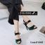 รองเท้าส้นเข็มรัดส้นสีดำ กำมะหยี่นิ่ม (สีดำ )