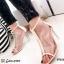 รองเท้าส้นสูงหุ้มข้อสีครีม พียูใส แต่งซิป ส้นแก้ว (สีครีม ) thumbnail 1