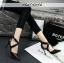 รองเท้าคัทชูส้นสูง หัวแหลม สายไขว้ (สีดำ )