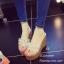 รองเท้าส้นเตารีดสีทอง เปิดส้น กลิ้ตเตอร์ฟรุ้งฟริ้ง ประดับคริสตัล (สีทอง )