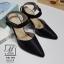 รองเท้าคัทชูรัดข้อสีดำ หัวแหลม เปิดส้น (สีดำ )