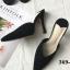รองเท้าส้นสูงหัวแหลมสีดำ เปิดส้น ผ้าชามัวร์ สไตล์ZARA (สีดำ ) thumbnail 1