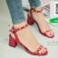 รองเท้าส้นตันรัดข้อสีน้ำตาล Rockstud Slingback Sandals (สีแดง )