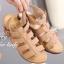 รองเท้าส้นเตารีด รัดส้น สายคาด3ตอน (สีน้ำตาล )