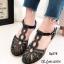 รองเท้าส้นแบนสีดำ หุ้มส้น หนังนิ่มฉลุลาย (สีดำ )