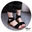 รองเท้าส้นเตี้ยรัดข้อสีดำ สายไขว้ยางยืด ซิปหลัง (สีดำ ) thumbnail 3