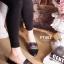 รองเท้าส้นเตี้ยหัวแหลมสีดำ สไตล์แบรนด์ Gucci (สีดำ )