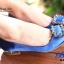 รองเท้าคัทชูหัวแหลมสีน้ำเงิน ส้นเตี้ย สไตล์แบรนด์ Manolo (สีน้ำเงิน ) thumbnail 3