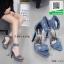 รองเท้าส้นเข็มรัดข้อสียีนส์ ผ้ายีนส์แต่งห่วง (สียีนส์ ) thumbnail 1