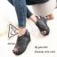 รองเท้าส้นเตารีดรัดส้นสีเทา แบบสวม เปิดหน้าเท้า (สีเทา ) thumbnail 1
