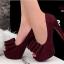 รองเท้าส้นสูง ผ้าสักหราด ประดับโบว์ (สีแดง ) thumbnail 7