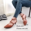 รองเท้าส้นเตี้ยหัวแหลมสีน้ำตาล รัดข้อ แต่งซิปหลัง (สีน้ำตาล ) thumbnail 2