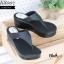 รองเท้าส้นเตารีดเปิดส้นสีดำ แบบคีบ สไตล์ Bao Bao (สีดำ )