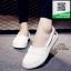 รองเท้าผ้าใบผู้หญิงสีขาว ลำลอง สไตล์เกาหลี (สีขาว )